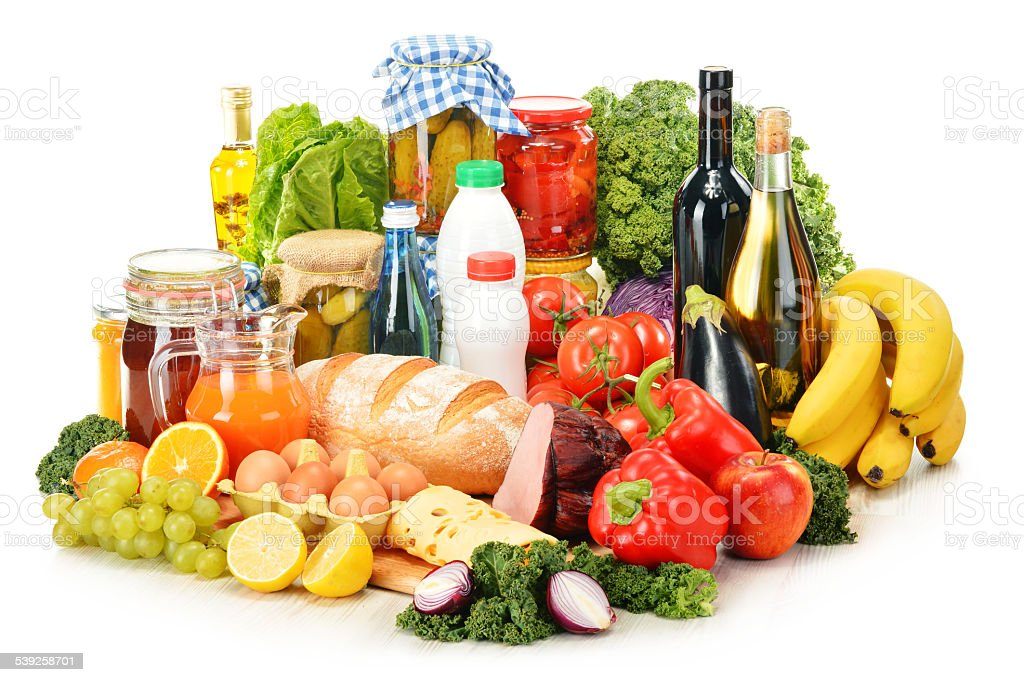 Composition with variety of grocery products isolated on white stock photo