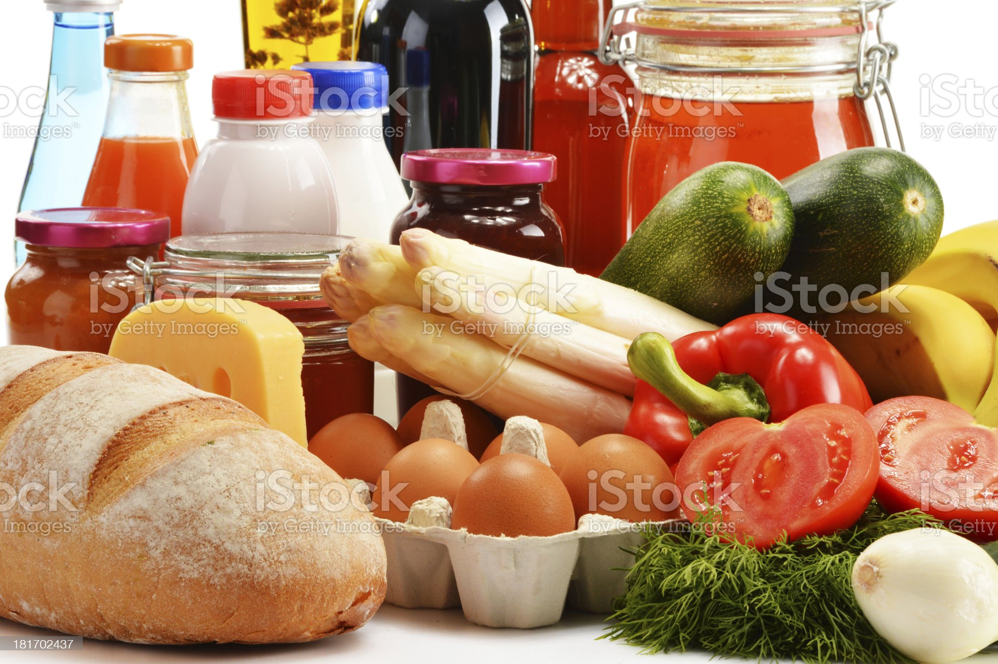 Composition with variety of grocery products royalty-free stock photo