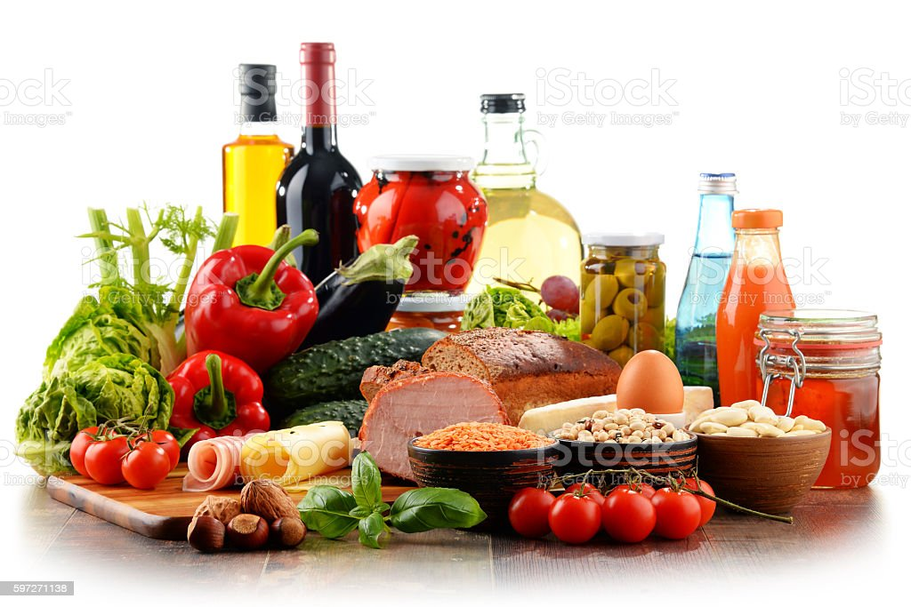 Composition with variety of organic food products stock photo