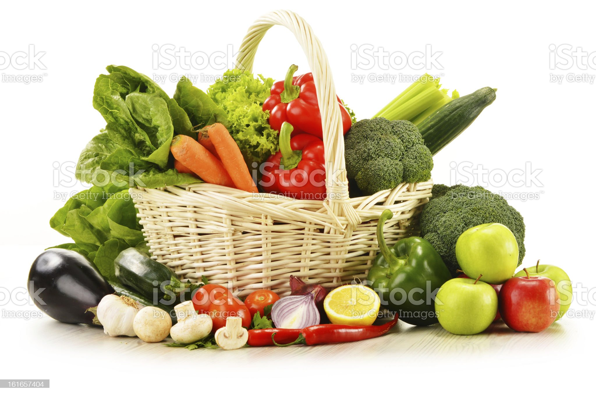Composition with variety of raw vegetables isolated on white royalty-free stock photo
