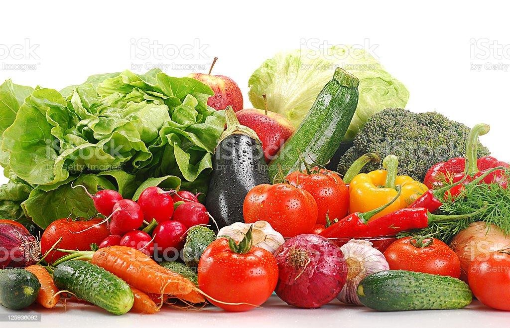 Composition with variety of raw vegetables royalty-free stock photo