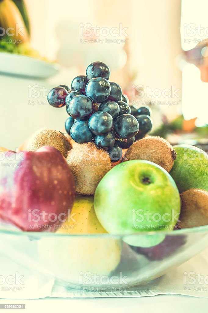 compositions of fresh fruit, refreshing and healthy stock photo