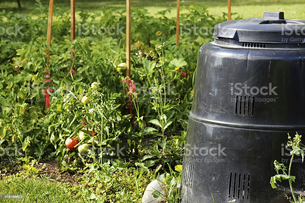 Compost bin and vegetable garden royalty-free stock photo