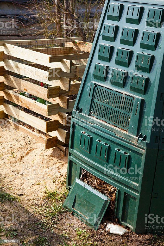 Compost bin stock photo