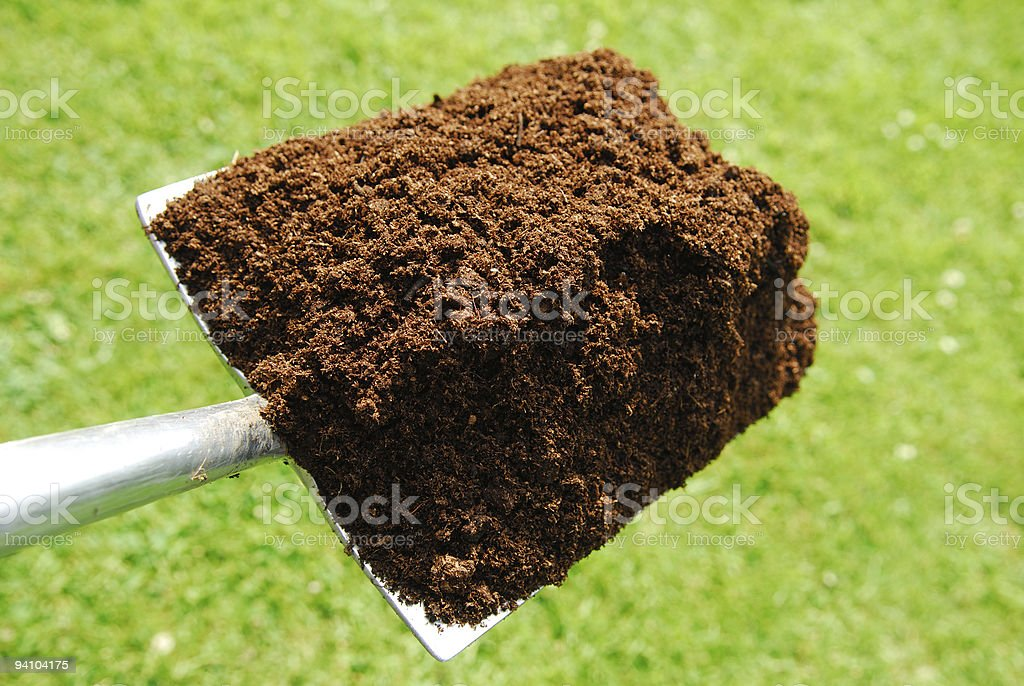Compost on Spade. stock photo