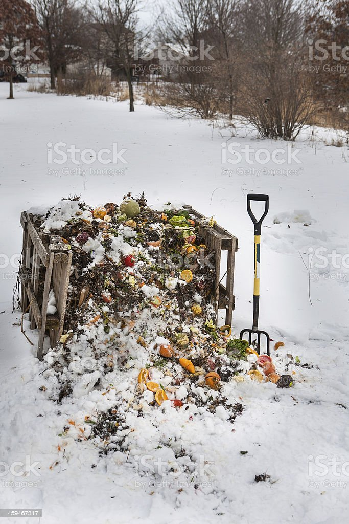 compost pile in Winter stock photo