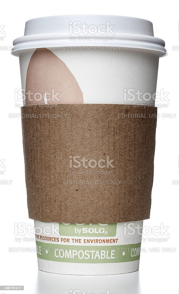 SOLO compostable cup with holder stock photo