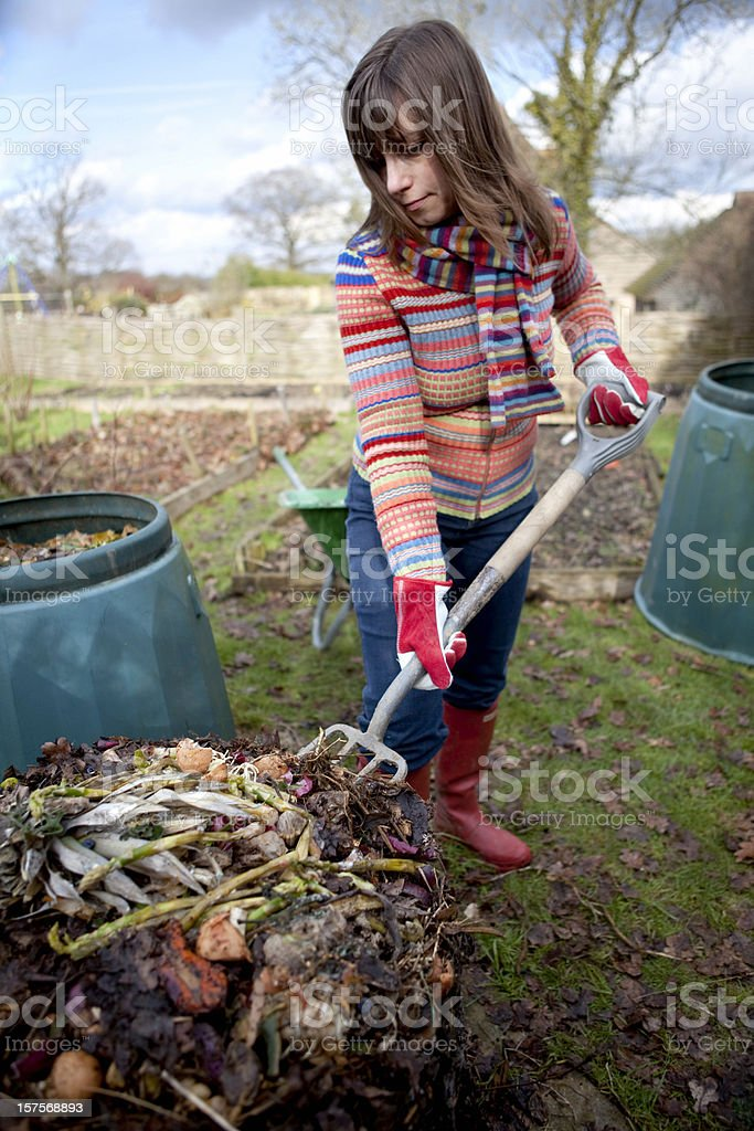 Composting in the Garden royalty-free stock photo