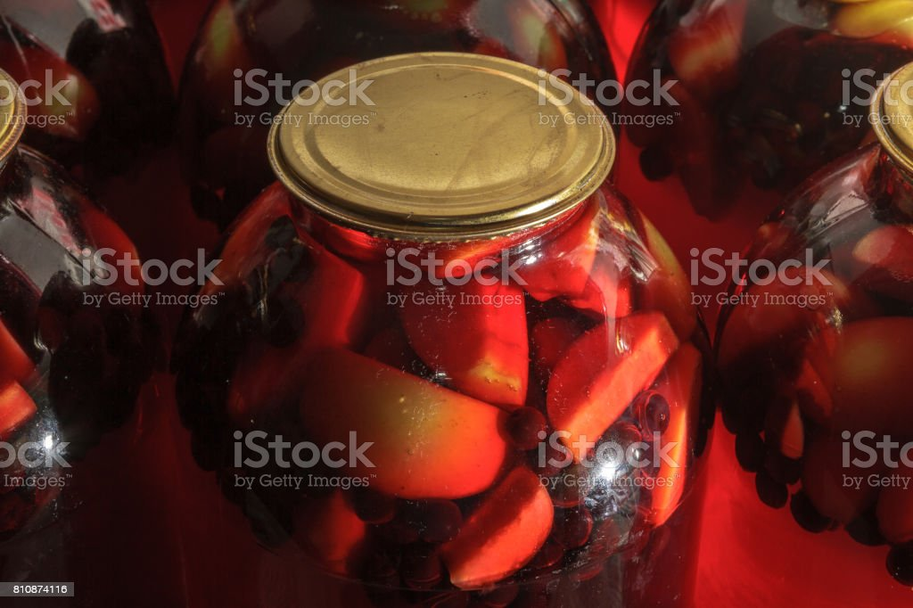 Compote in a jar stock photo