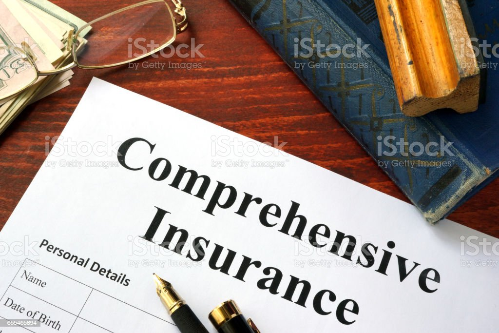 Comprehensive insurance form on a office table. stock photo