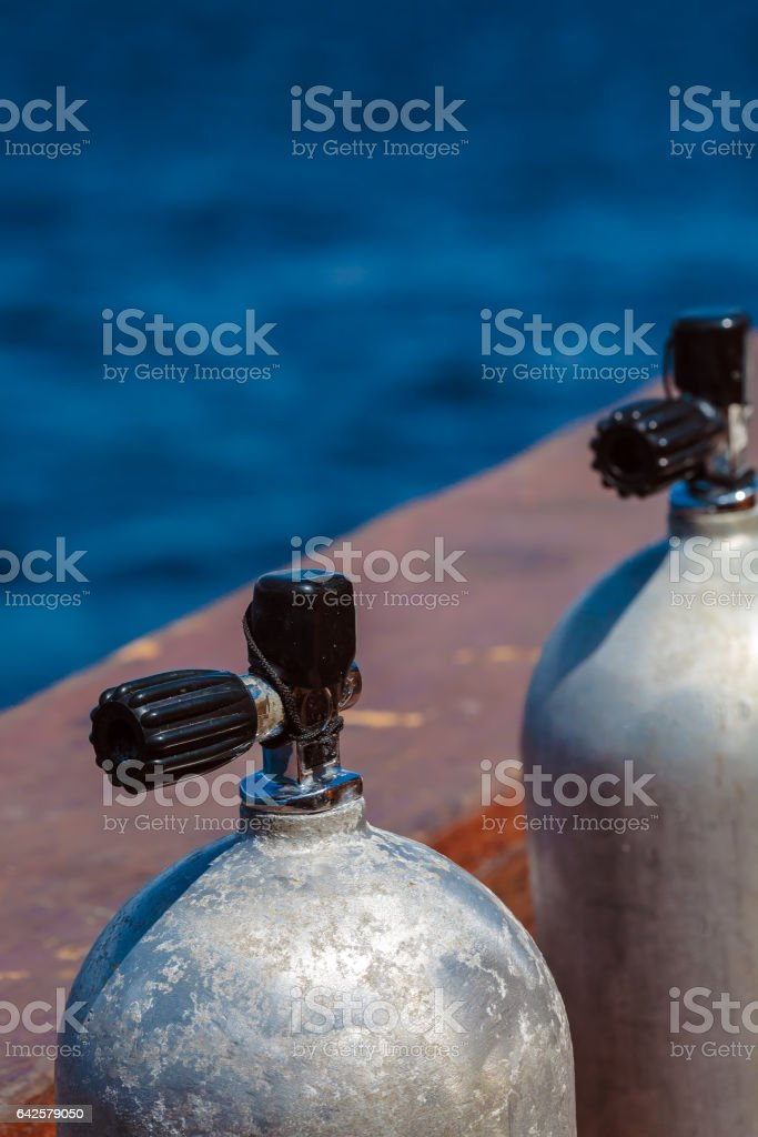 Compressed Air Tanks on Scuba Diving Boat stock photo