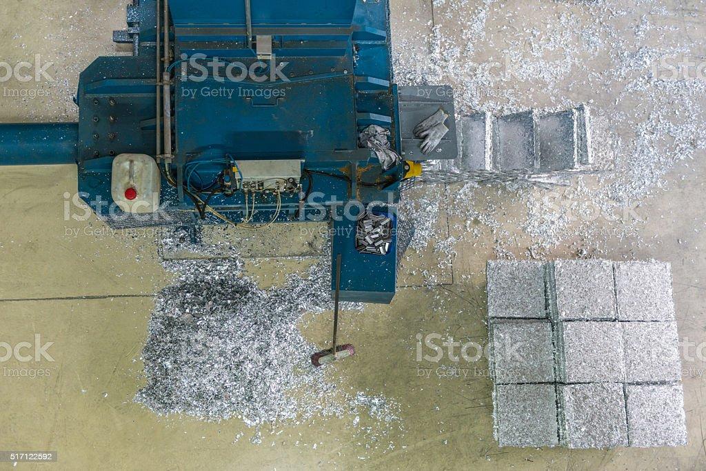 Compressed aluminium blocks stock photo