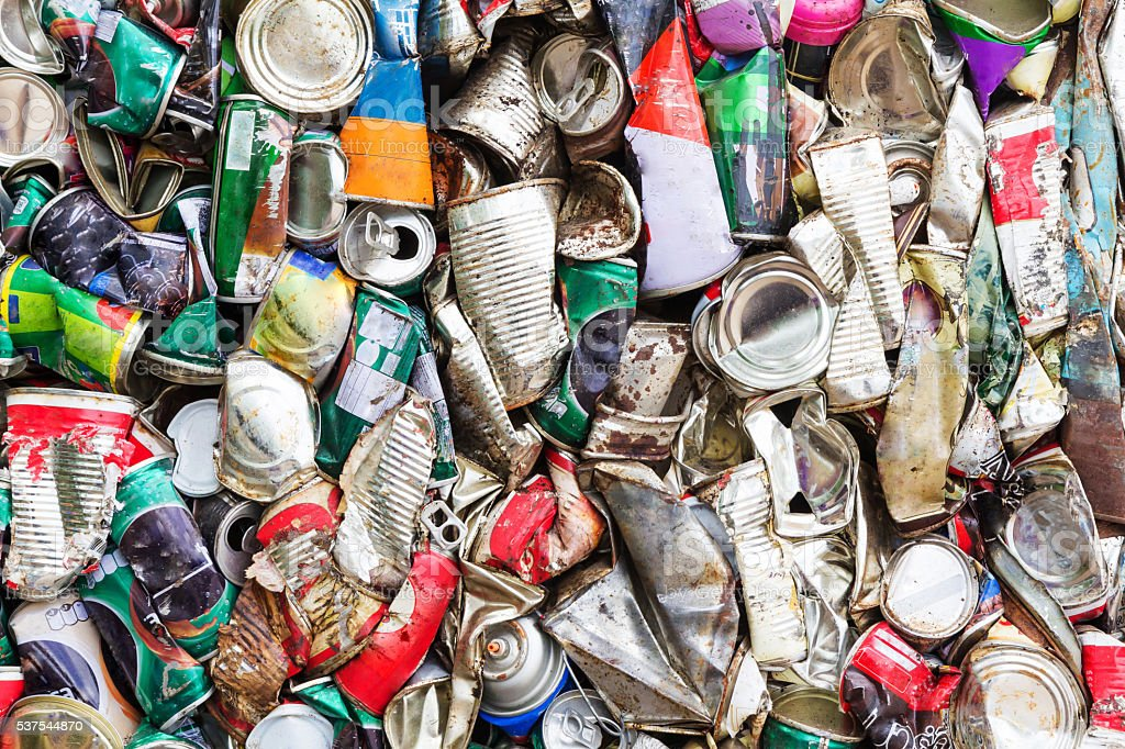 Compressed aluminum can for recycle stock photo