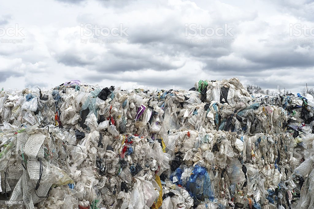Compressed plastic bags ready for recycling stock photo