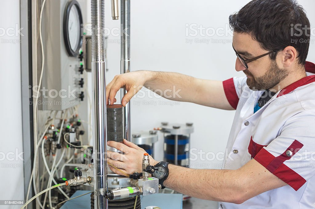 Compression test on soil sample stock photo