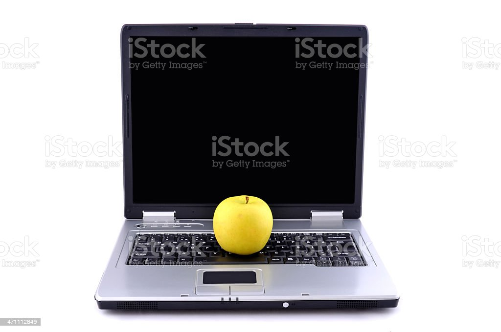 computer and apple royalty-free stock photo