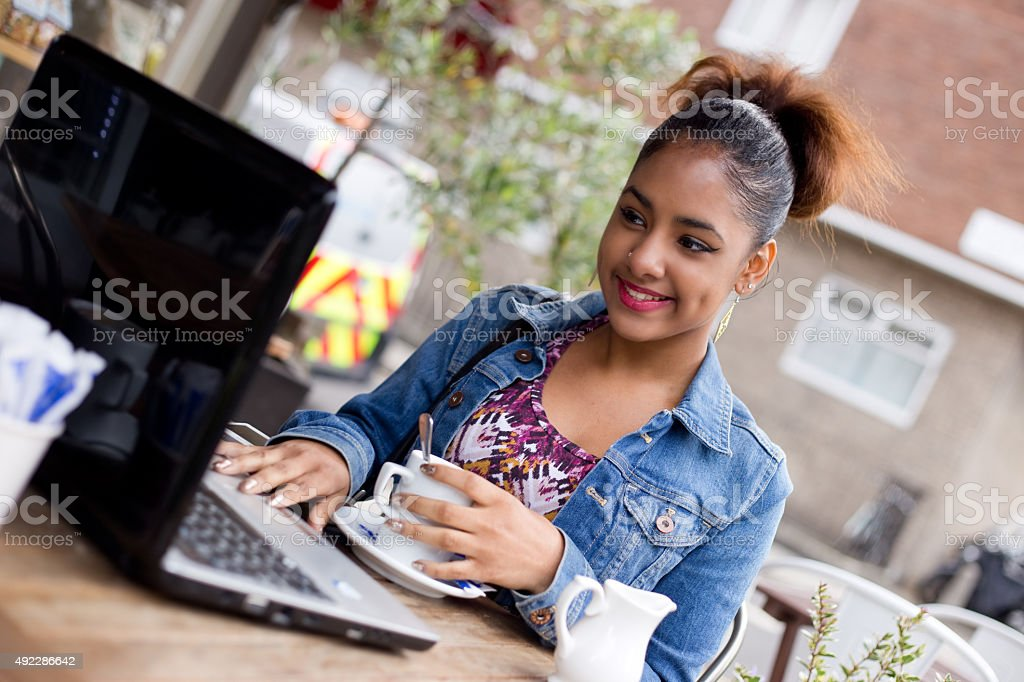 computer and coffee royalty-free stock photo
