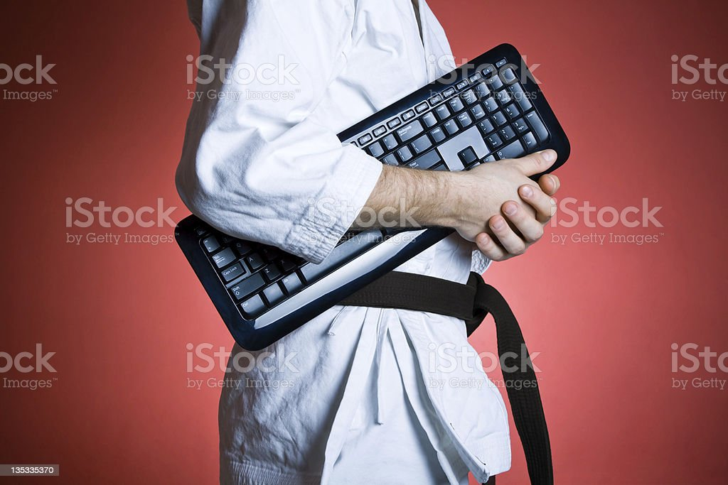 Computer and karate training stock photo