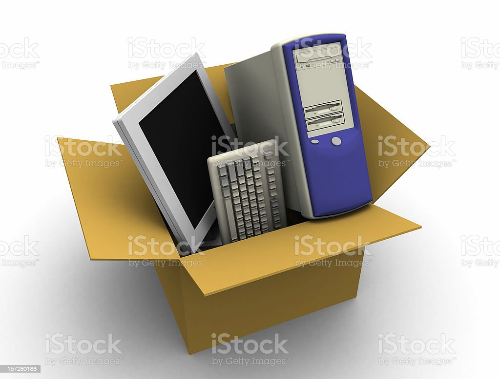 Computer and LCD in a Box royalty-free stock photo
