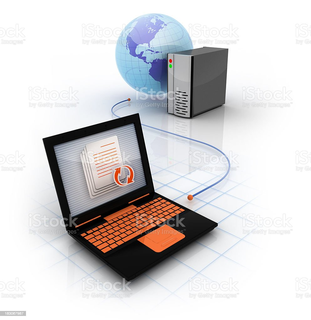 Computer and Online Server stock photo