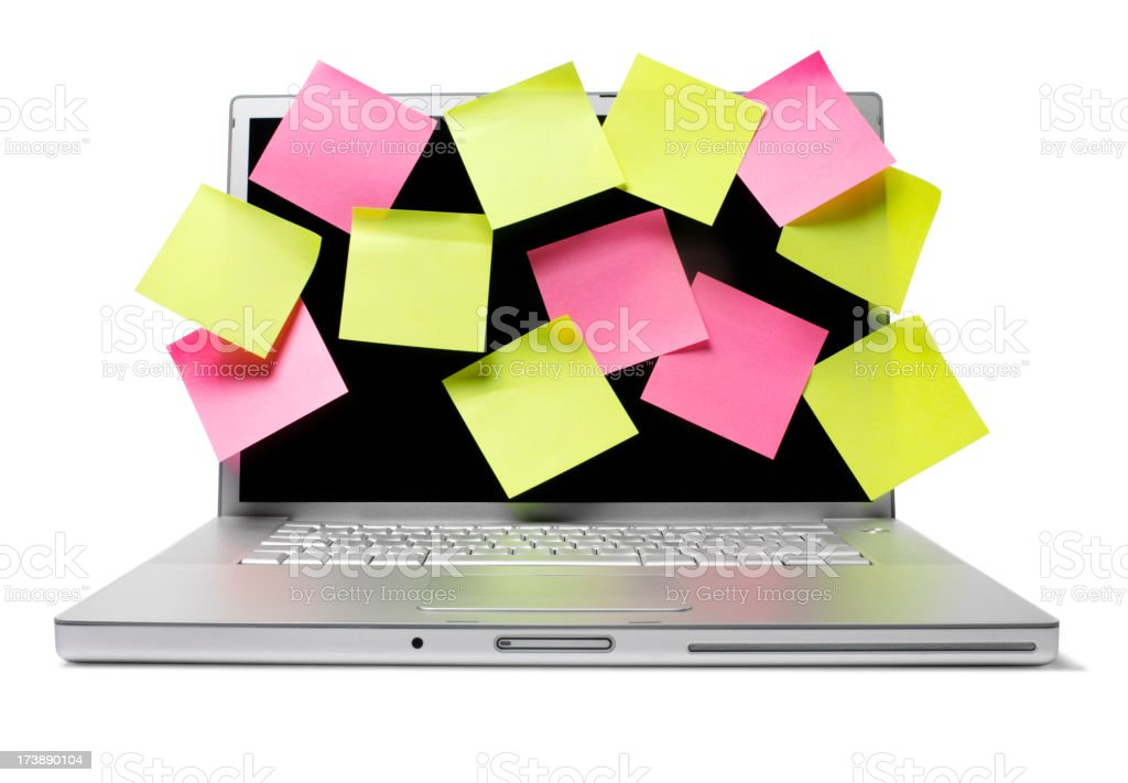 Computer and Paper Notes royalty-free stock photo
