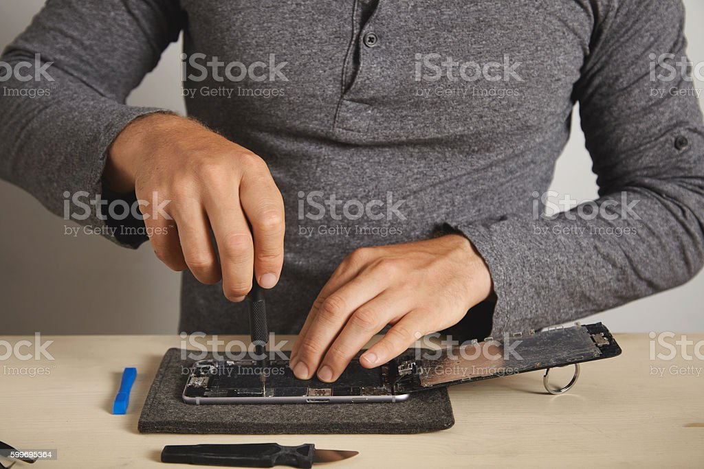 Computer and phone repairment service stock photo