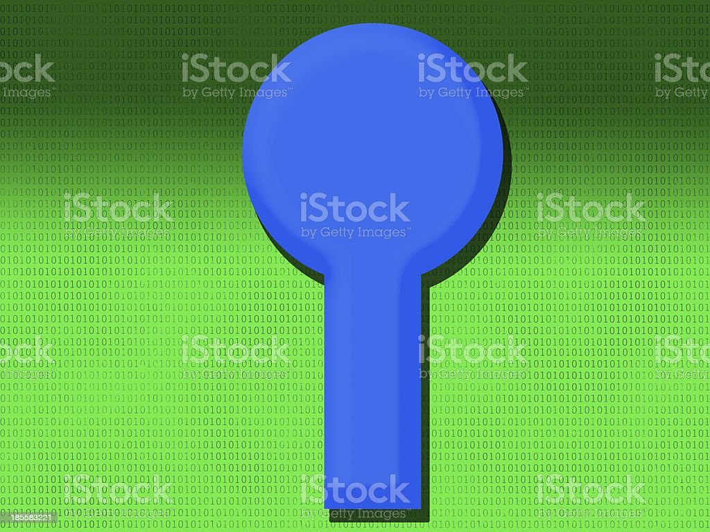 Computer and programming bit code under keyhole royalty-free stock photo