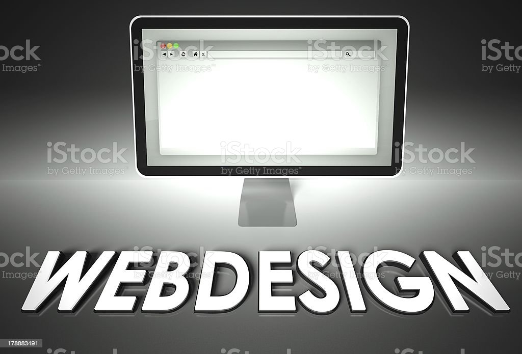 Computer and web browser with Webdesign, Design royalty-free stock photo