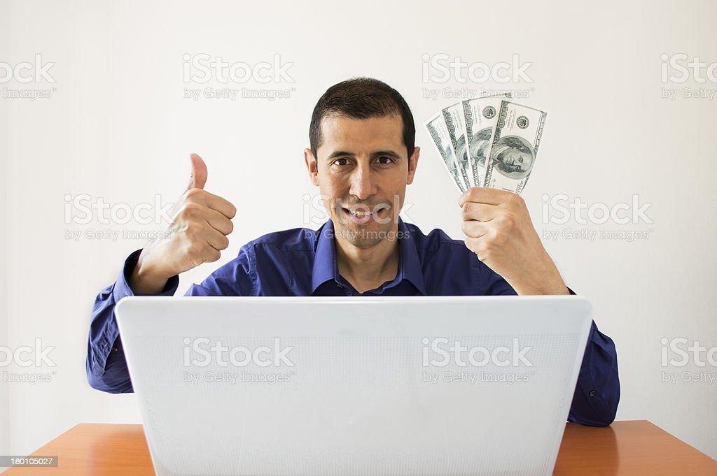 computer and winning many us dollar royalty-free stock photo
