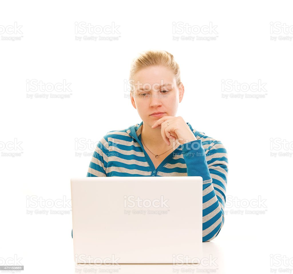 Computer and Woman royalty-free stock photo
