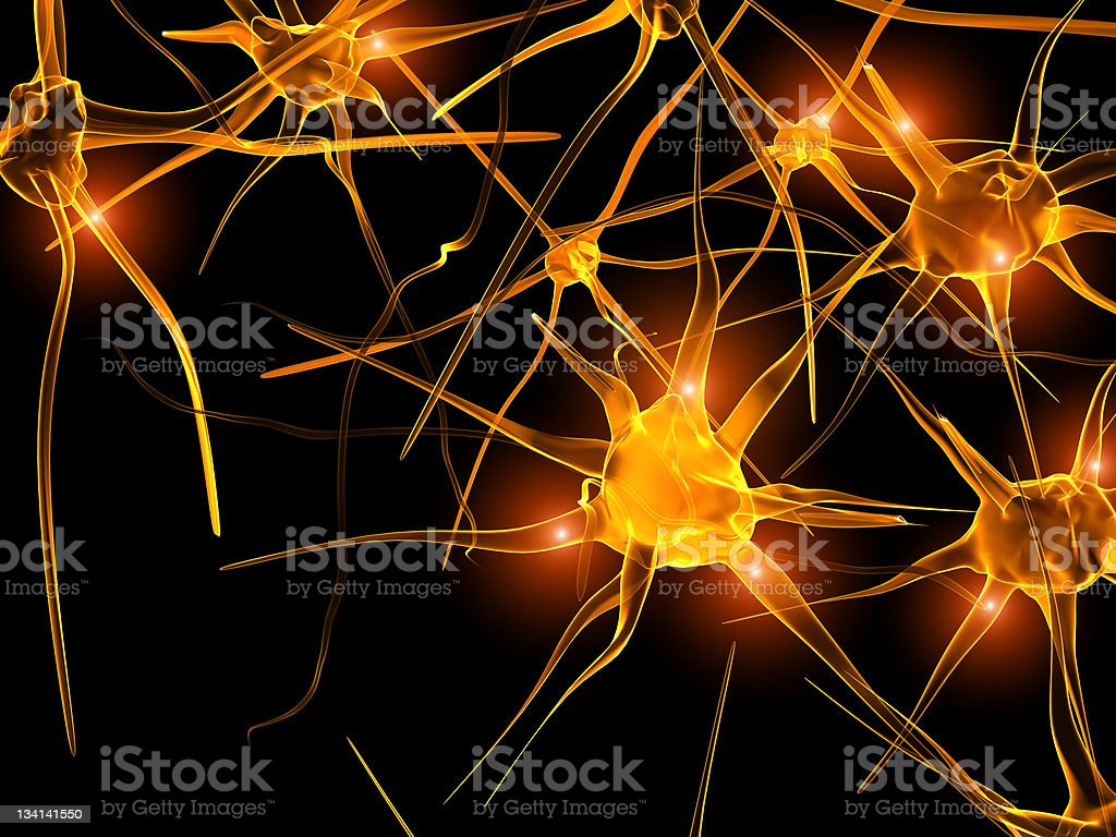 Computer animated image of neurons illuminated in gold royalty-free stock photo