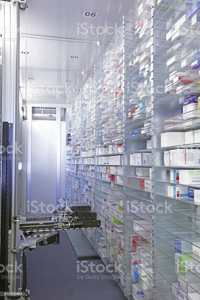 Computer automated pharmacy storage room stock photo
