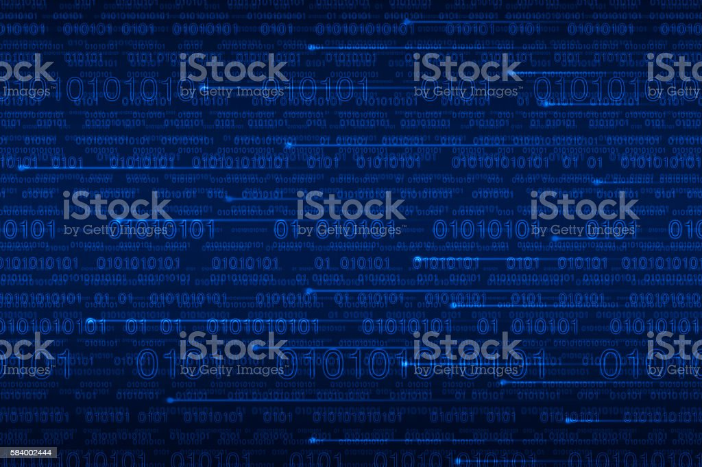 Computer binary code on blue background stock photo