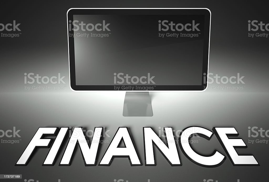 Computer blank screen with word Finance royalty-free stock photo