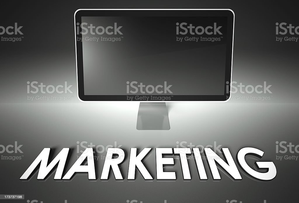 Computer blank screen with word Marketing royalty-free stock photo