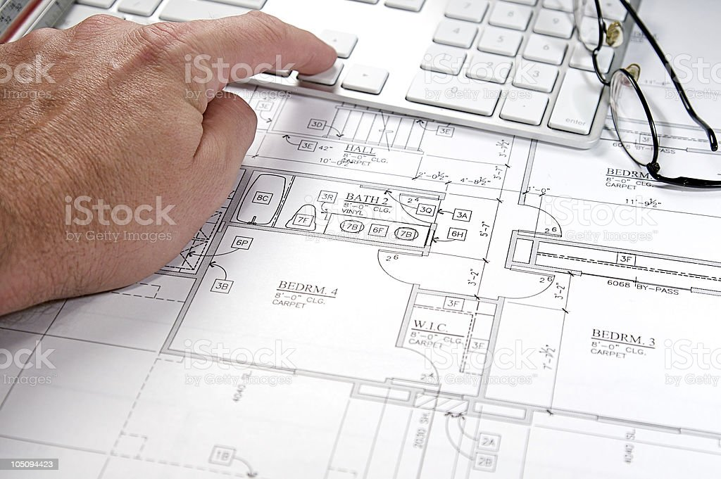Computer Blueprint royalty-free stock photo