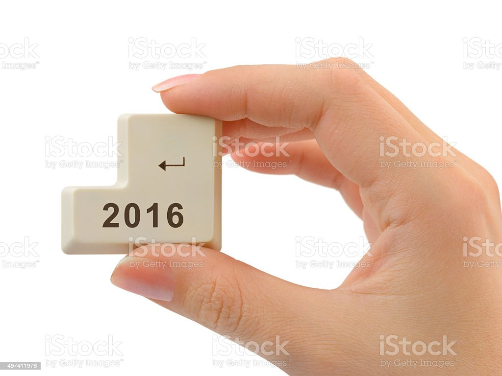 Computer button 2016 in hand stock photo