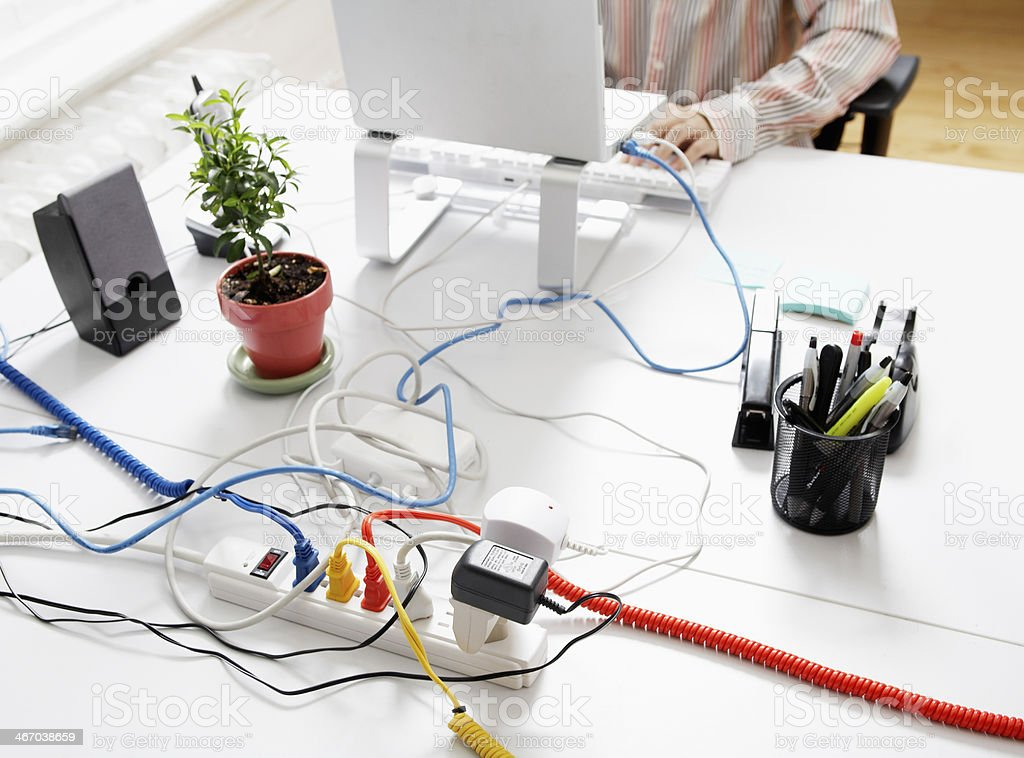 Computer Cables on Extension Cord stock photo