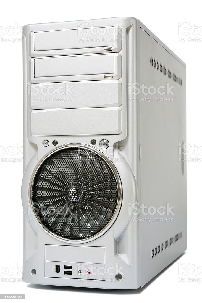 Computer case on white stock photo