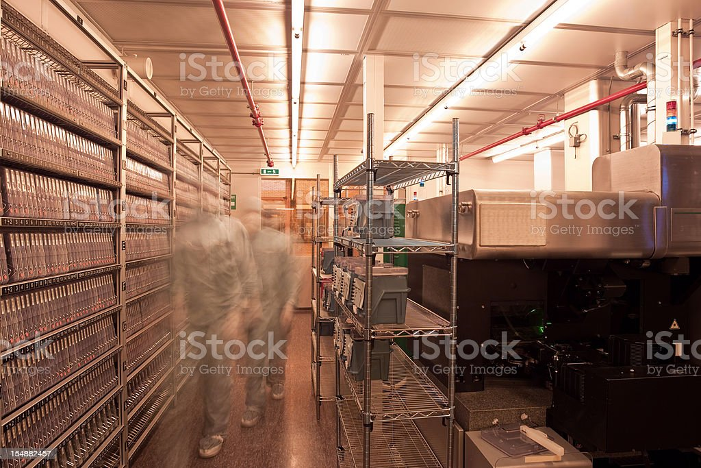 Computer chip production facility stock photo
