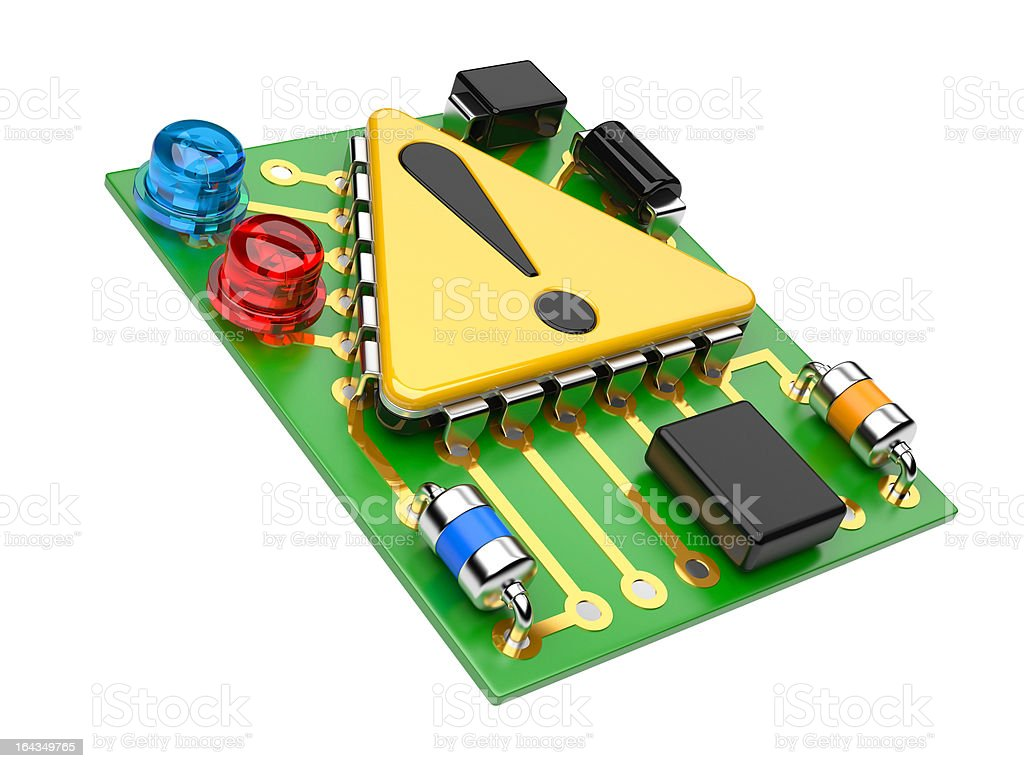Computer chip with exclamation sign royalty-free stock photo