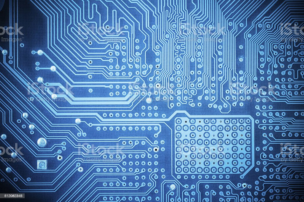computer circuit board closeup stock photo