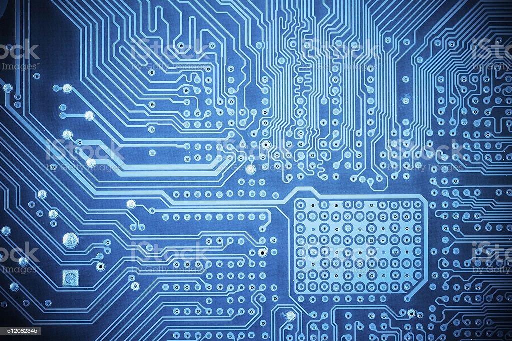 computer circuit board closeup stock photo