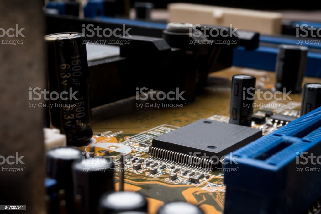 Computer circuit board, electronic technology background. stock photo