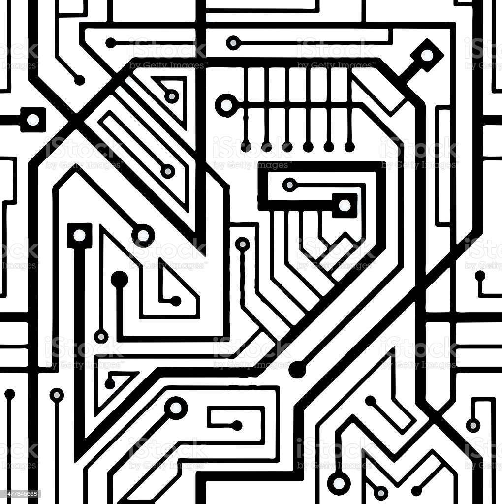 Computer circuit board seamless pattern stock photo