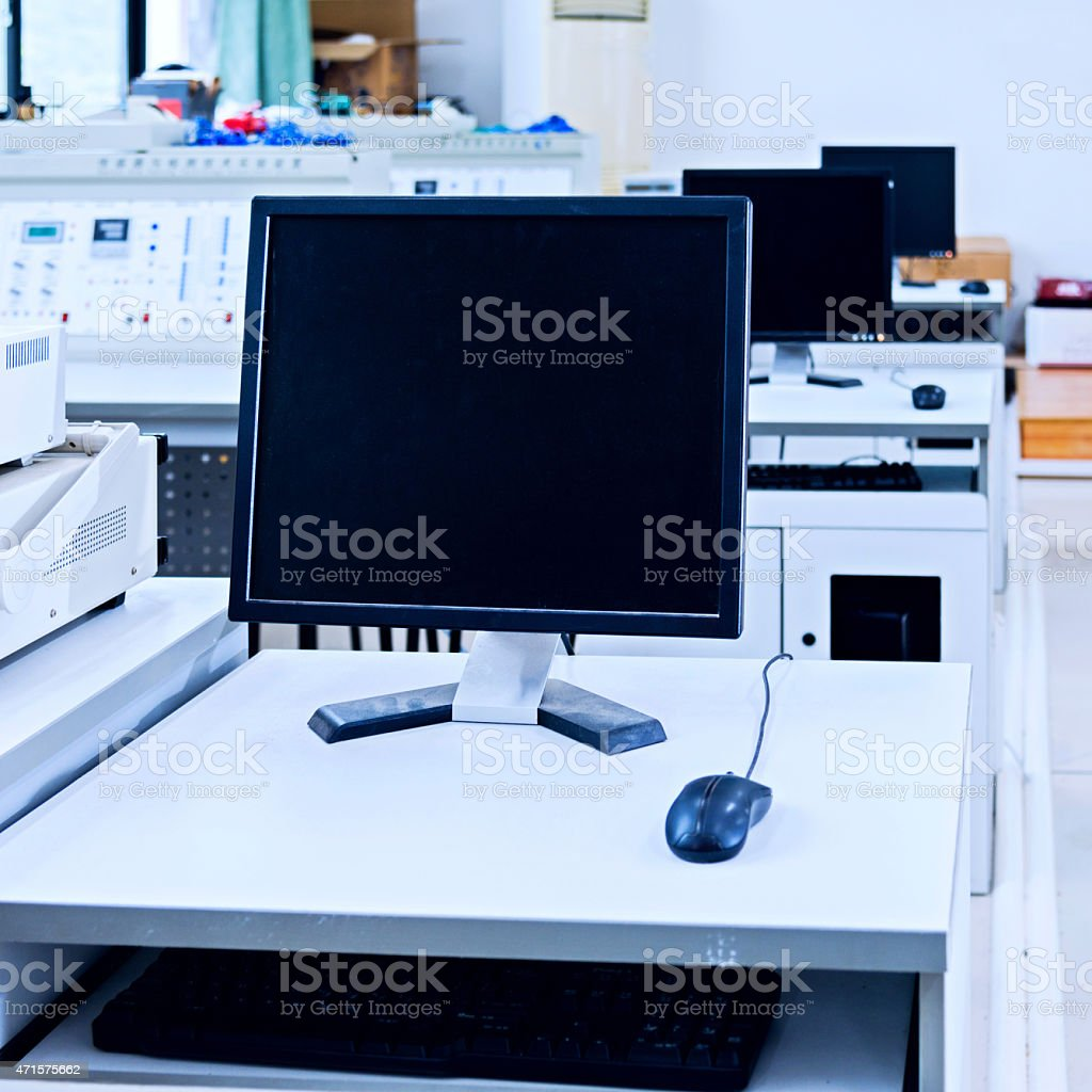 computer classroom stock photo