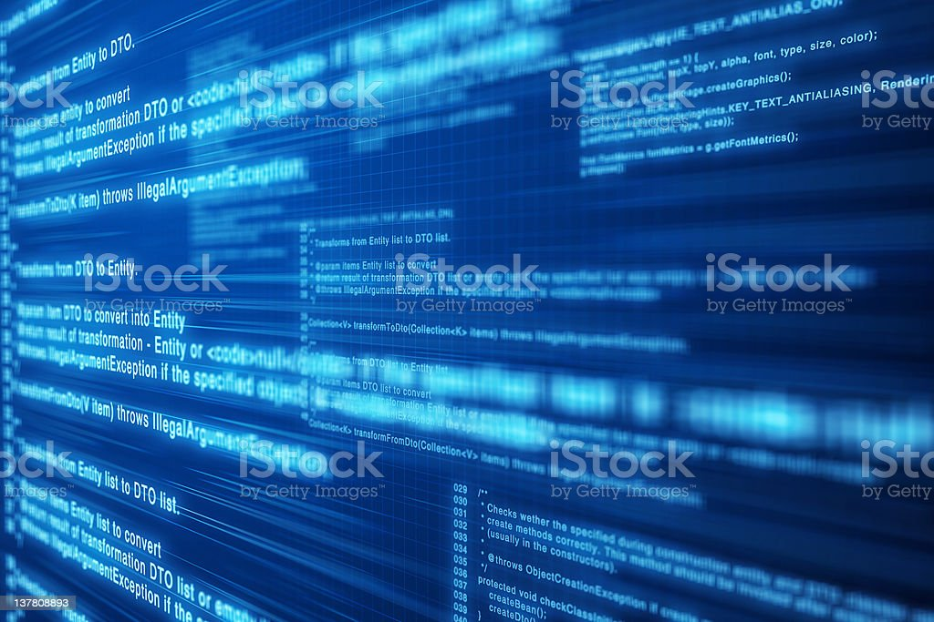 Computer code. Deep blue screen. royalty-free stock photo