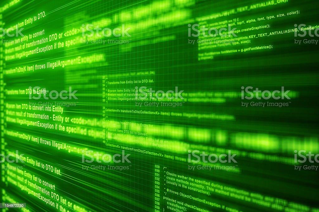 Computer code. Deep green screen royalty-free stock photo