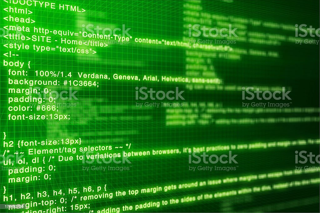 Computer code. Deep green screen royalty-free stock photo
