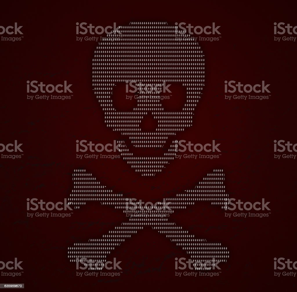 Computer Code Scull & Crossbones, virus - malware - hacker stock photo